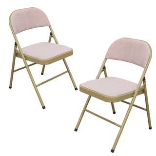 Adeco Tubular Steel Golden Powder Coated Pink Folding Chairs (Set of two)