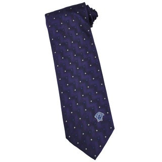 Versace 100-percent Italian Silk Purple Zigzag Neck Tie