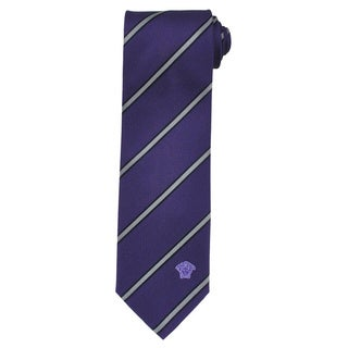 Versace 100-percent Italian Purple Black/ Grey Stripe Silk Neck Tie