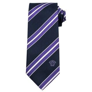 Versace 100-percent Italian Silk Black/ Purple Stripes Neck Tie
