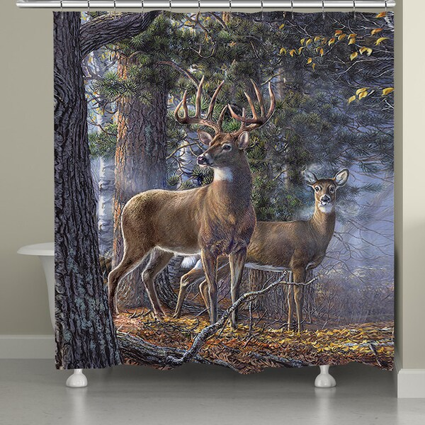 Laural Home Majestic Deer 71 x 74-inch Shower Curtain