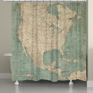 Laural Home Map of North America Shower Curtain (71 inches x 72 inches)