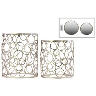 Metal Round Nesting Accent Table with Mirror Top, Ring Leg Design and Round Base Set of Two Metallic Finish Champagne