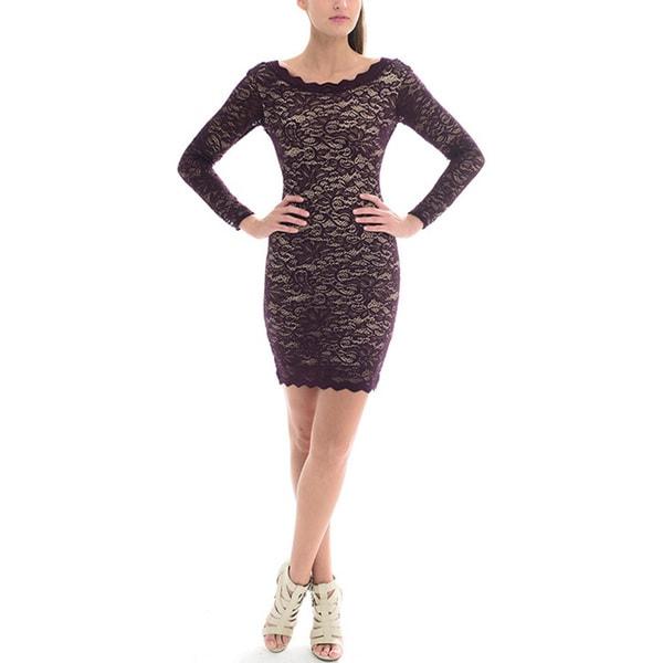 c7a3e5f2a7 Shop Sentimental NY Women s Long-Sleeve Scalloped Lace Dress - Free ...