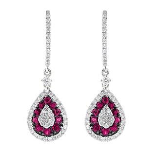Luxurman 14k White Gold 2ct TDW Pear Diamond and Ruby Earrings (G-H, VS1-VS2)