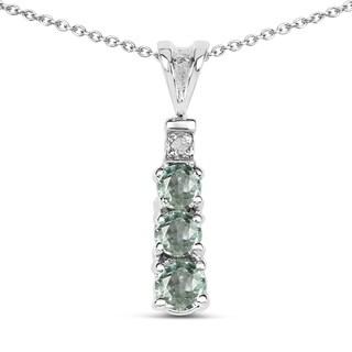 Olivia Leone Sterling Silver 1/3ct TDW Diamond and Green Sapphire Pendant (I-J, I2-I3)