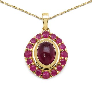 Olivia Leone 14k Yellow Goldplated Silver 2 4/5ct TGW Ruby Pendant