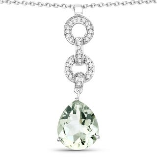 Olivia Leone Sterling Silver 5 1/8ct TGW Green Amethyst and White Topaz Pendant