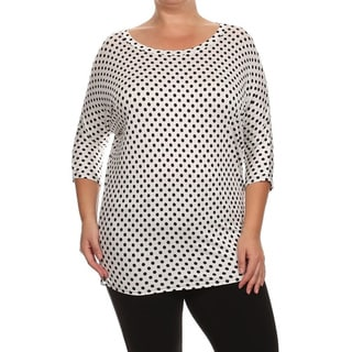 Moa Collection Women's Plus Size Polka-Dot Top