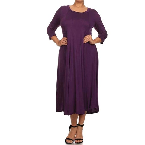 Moa Collection Women's Plus Size A-Line Midi Dress