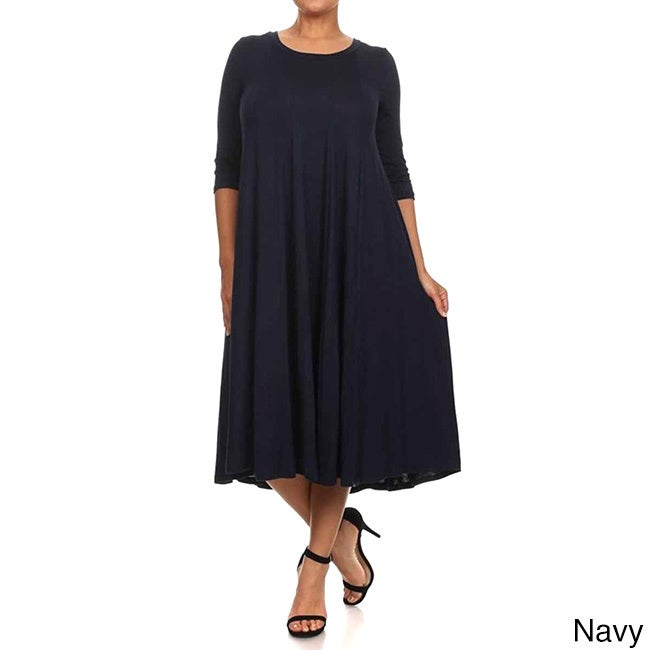 89e7605967c Moa Collection Women s Plus Size A-Line Midi Dress