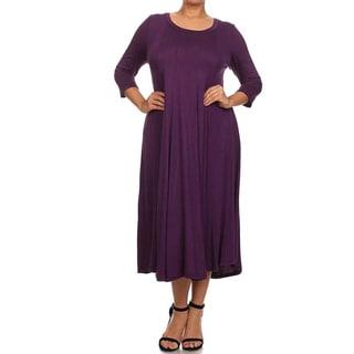 Moa Collection Women's Plus Size A-Line Midi Dress
