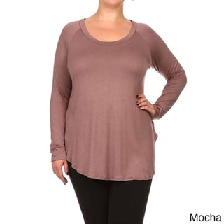 Moa Collection Women's Plus Size Long-Sleeve Soft Knit Top