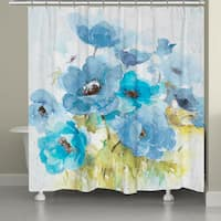 Laural Home Blue Watercolor Bouquet Shower Curtain
