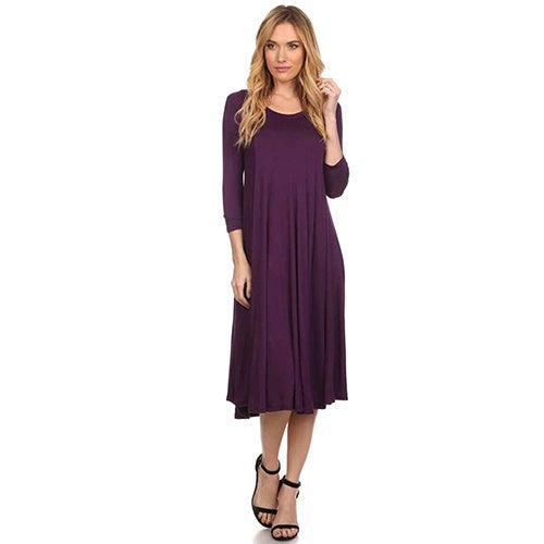 Moa Collection Women's A-Line Midi Dress