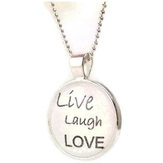 Mama Designs 'Live Love Laugh' Dome Pendant Necklace