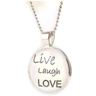 Mama Designs 'Live Love Laugh' Dome Pendant Necklace