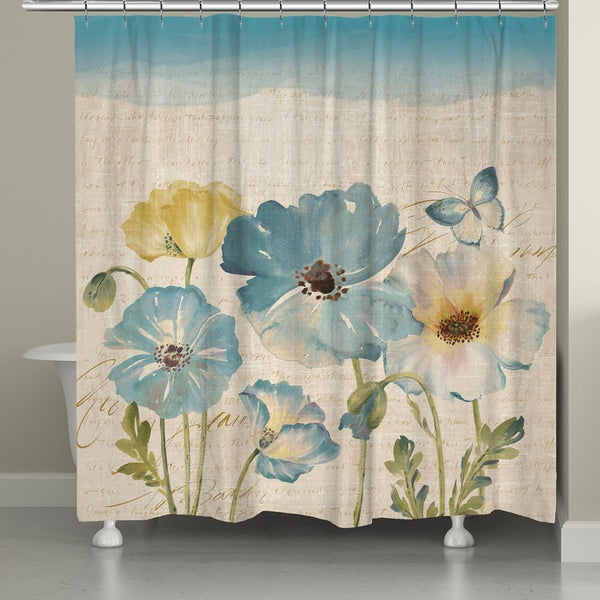 Laural Home Watercolor Teal Poppies 71 X 72 Inch Shower Curtain