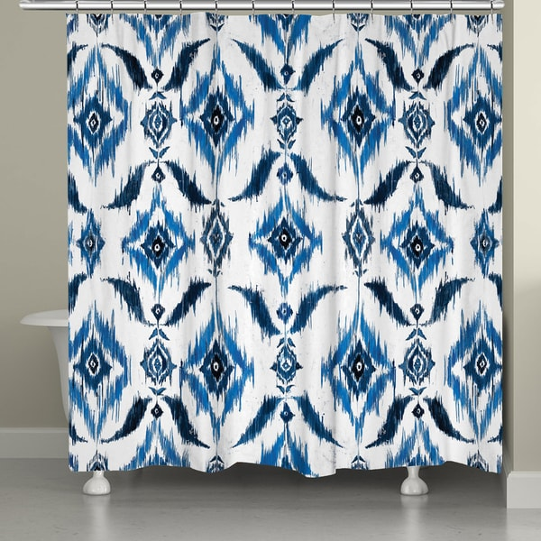 Laural Home Abstract Indigo Shower Curtain