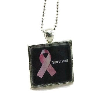 Mama Designs Handmade Survived Breast Cancer Pink Ribbon Necklace