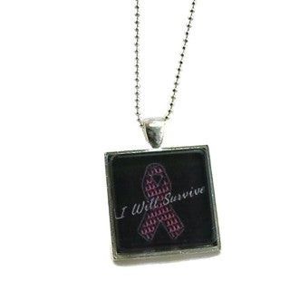 Mama Designs Handmade Pink Ribbon Breast Cancer Necklace