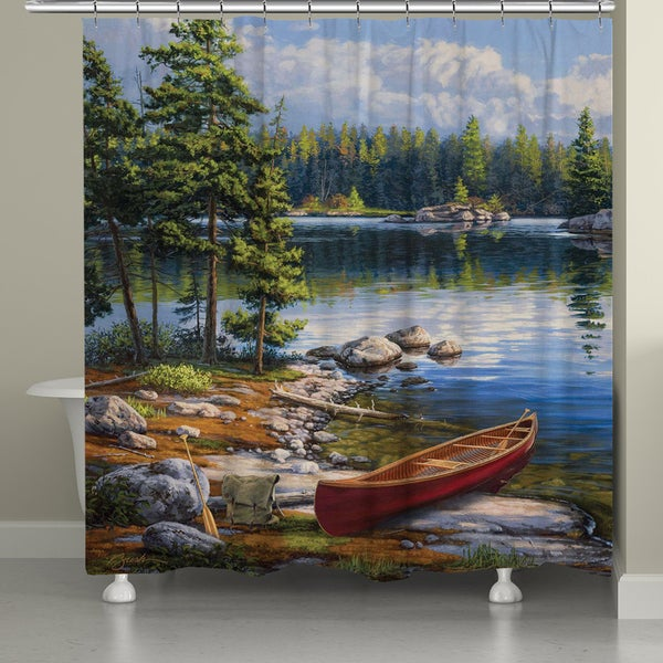 Shop Laural Home Blue Lake Shower Curtain 71 Inches X 72