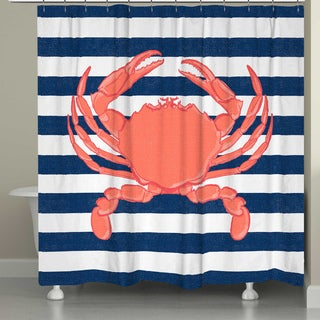 Laural Home Nautical Crab 71 x 72-inch Shower Curtain