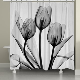 Laural Home X-Ray Monochromatic Tulips Shower Curtain