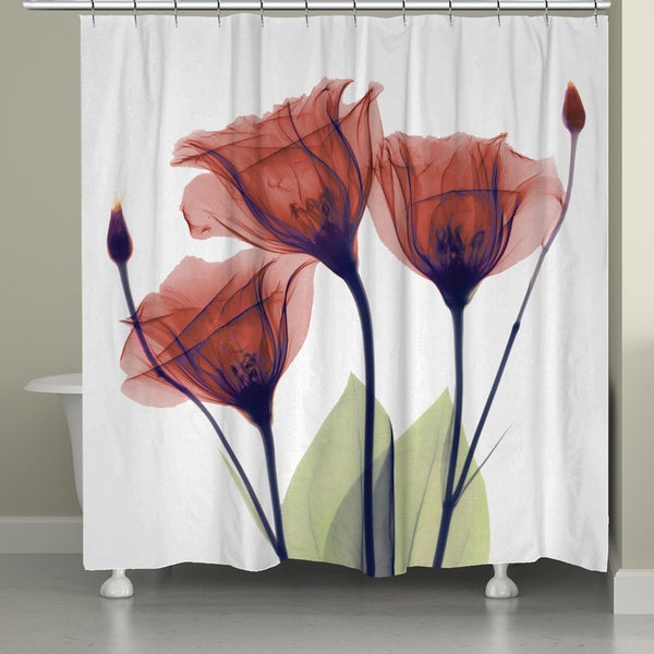 Shop Laural Home X Ray Gentian Red Flower Shower Curtain