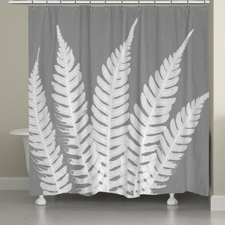 Laural Home X-Ray Leaves on Grey Shower Curtain