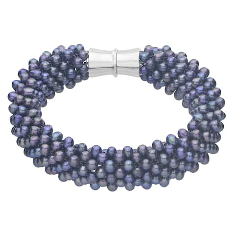 Pearls For You Sterling Silver Dyed Black Freshwater Pearl 7.5-inch Bracelet (3.5-4 mm)