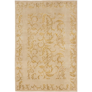 ecarpetgallery Silk Touch Beige Wool and Silk Rug (5'7 x 8'1)