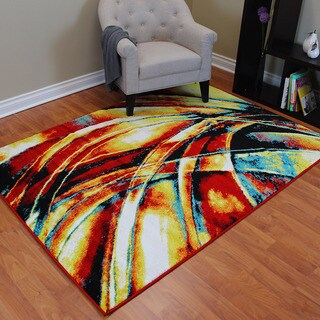 Rainbow 910 Multi-colored Abstract Design Area Rug (5' x 7')