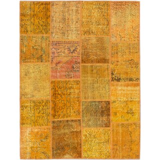 ecarpetgallery Color Transition Patch Orange Wool Rug (5' x 6'7)