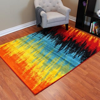 Rainbow 900 Multi-colored Abstract Line Drawing Design Area Rug (5' x 7')