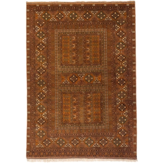 ecarpetgallery Finest Khal Mohammadi Orange Wool Rug (5'5 x 7'10)