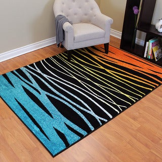 Rainbow 902 Multi-colored Abstract Wave Design Area Rug (5' x 7')