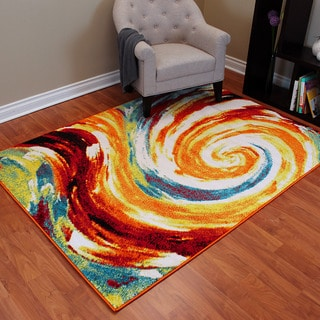 Rainbow 907 Multi-colored Abstract Large Swirl Design Area Rug (5' x 7')