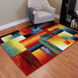 Rainbow 908 Multi-colored Abstract Block Design Area Rug (5' x 7')
