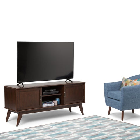 WyndenHall Tierney Brown Wood Mid-century Low TV Media Stand
