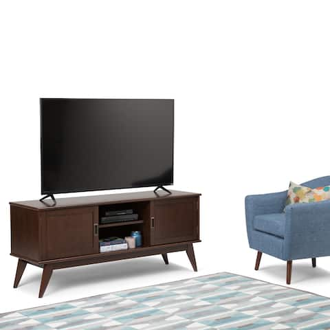 """WYNDENHALL Tierney SOLID HARDWOOD 60 inch Wide Mid Century Modern TV Media Stand For TVs up to 65 inches - 60""""w x 18""""d x 26"""" h"""