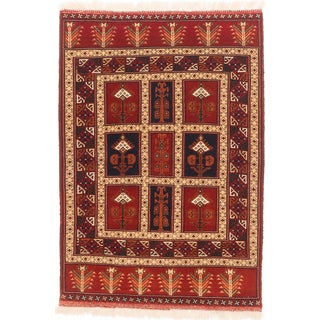 ecarpetgallery Shiravan Bokhara Blue/ Brown Wool Rug (3'6 x 5'2)