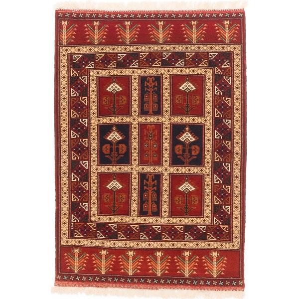 ecarpetgallery Shiravan Bokhara Blue/ Brown Wool Rug - 3'6 x 5'2