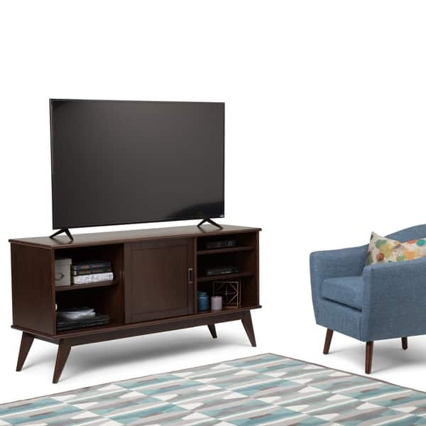 Wyndenhall Tierney Solid Hardwood 60 Inch Wide Mid Century Modern Tv Media Stand In Medium Auburn Brown For Tvs Up To 65 Inches