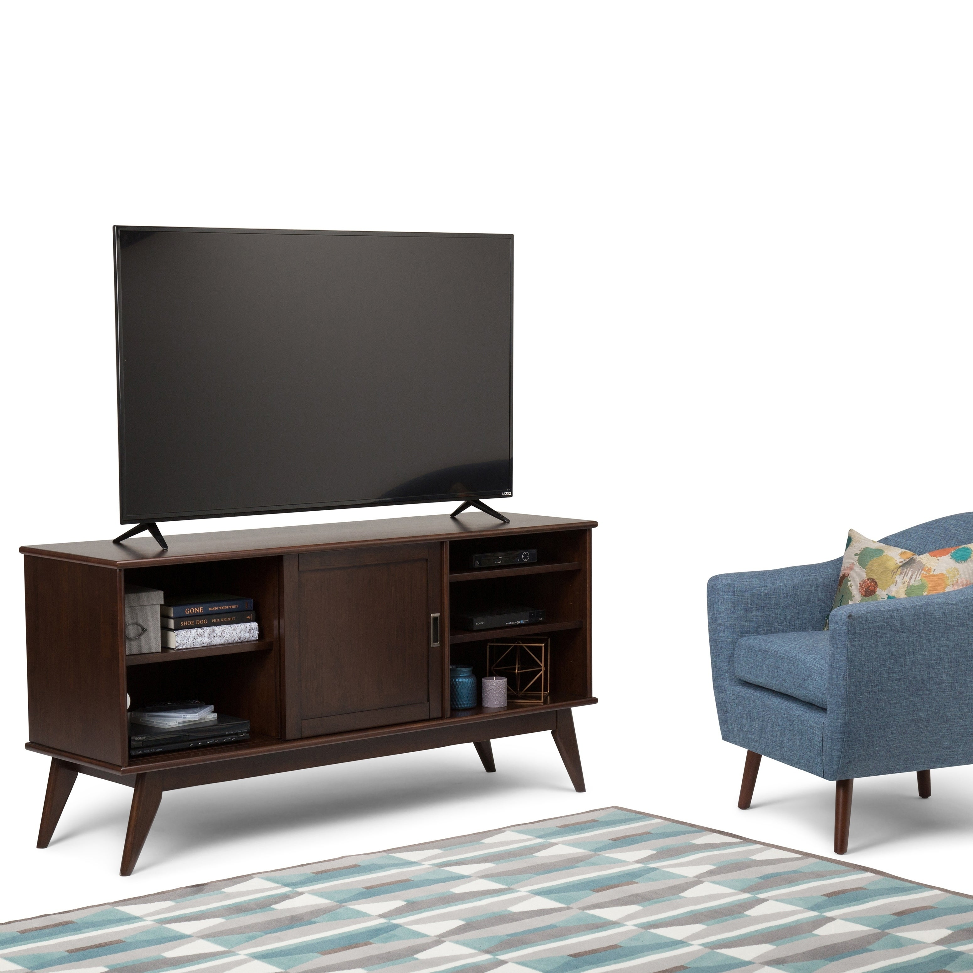 Shop Wyndenhall Tierney Solid Hardwood 60 Inch Wide Mid Century Modern Tv Media Stand For Tvs Up To 65 Inches 60 W X 18 D X 30 H Overstock 10993023