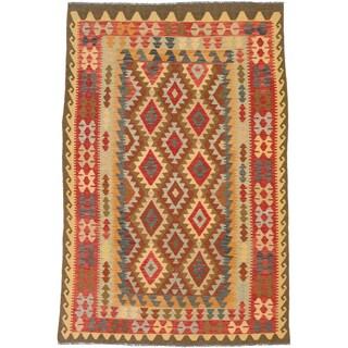 ecarpetgallery Anatolian Kilim Red/ Yellow Wool Kilim Rug (6'3 x 9'5)