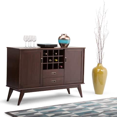 WYNDENHALL Tierney Solid Hardwood 54 inch Wide Mid Century Modern Sideboard Buffet and Winerack