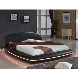 Black Leather with Flexible LED Decoration Strip Light Contemporary Platform Bed