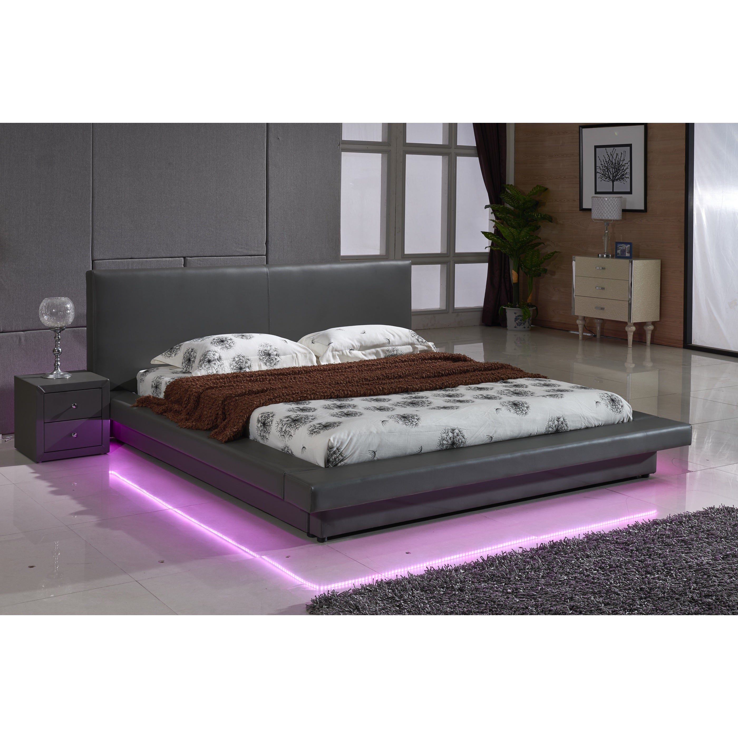 Picture of: Grey Leather With Led Decoration Strip Light Contemporary Platform Bed Overstock 10993034 Eastern King