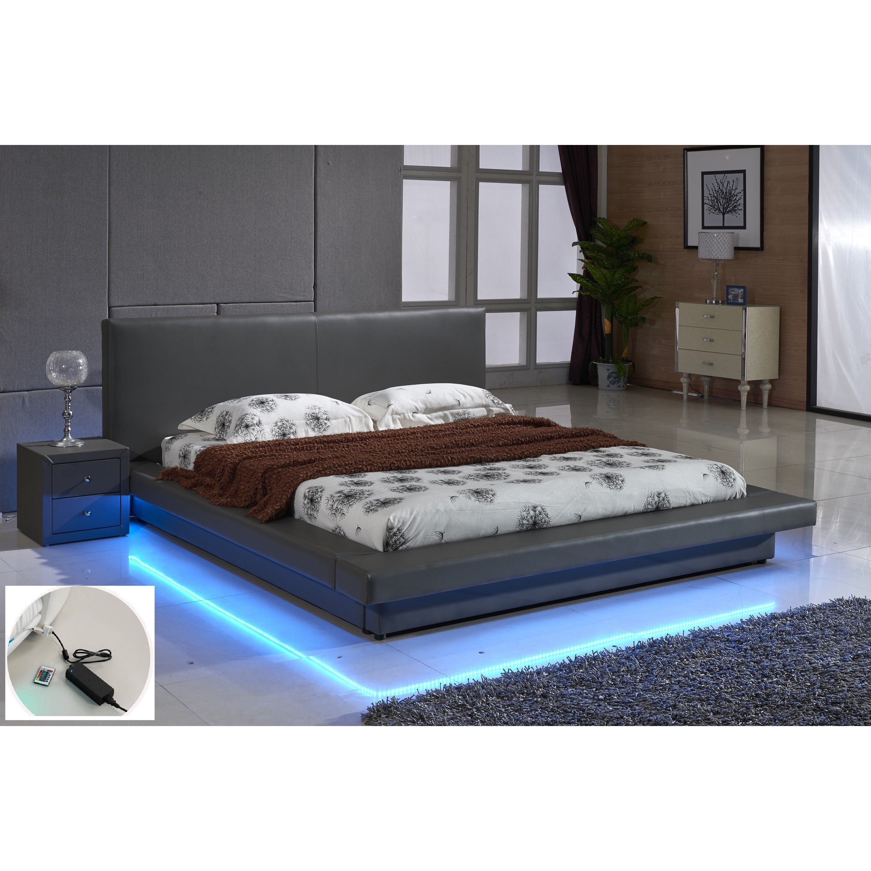 Grey Leather With Led Decoration Strip Light Contemporary Platform Bed Overstock 10993034